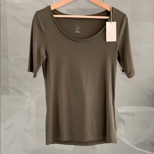 A New Day Olive Green Elbow Sleeve Tee - New